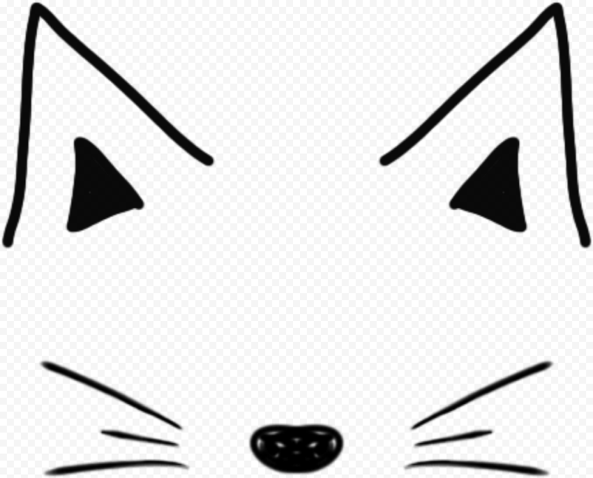 HD Snapchat Cat Black Clipart Filter Ears Nose PNG Image