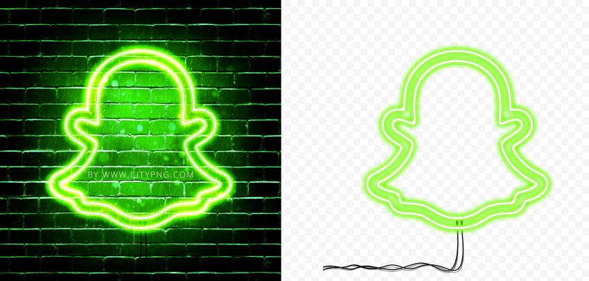 HD Snapchat Green Neon Glowing Logo PNG
