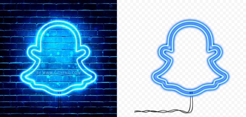 HD Snapchat Blue Neon Glowing Logo PNG