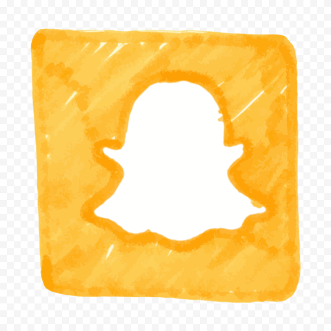 HD Orange Snapchat Icon Watercolor Style PNG Image