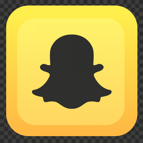 HD Snapchat Yellow Square Shape Black Ghost Icon PNG Image