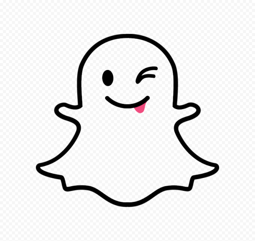 Snapchat Cute Cartoon Ghost Tongue Outline Icon PNG Image
