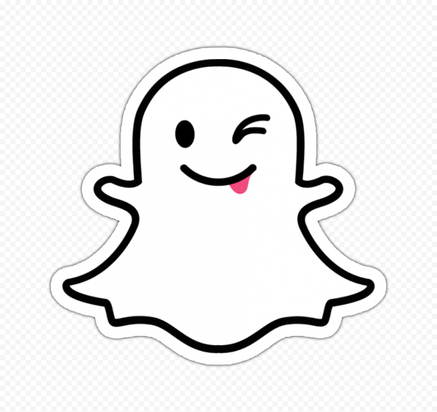 Snapchat Cute Cartoon Ghost Tongue Stickers PNG Image