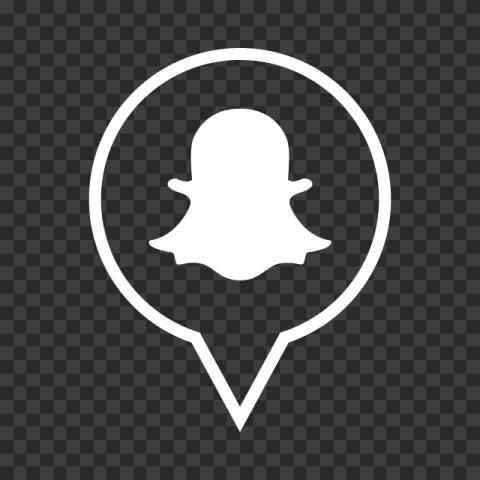 White Snapchat Pin Icon PNG Image