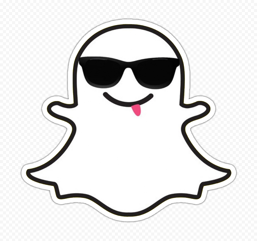 Snapchat Cute Emoji Cartoon Ghost With Sunglasses Tongue Stickers PNG Image