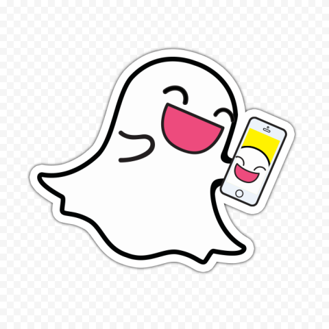 Happy Snapchat Ghost Cartoon Hold Phone Stickers PNG Image