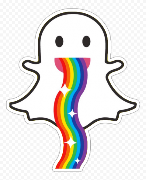 HD Snapchat Ghost Rainbow Stickers PNG Image
