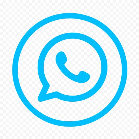 HD Light Blue Round Outline Whatsapp Wa Logo Icon PNG