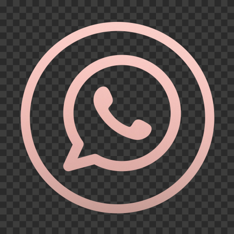 HD Rose Gold Outline Whatsapp Wa Watsup Round Circle Logo Icon PNG