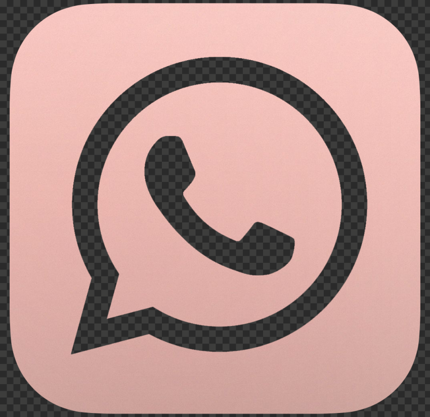 HD Rose Gold Outline Square Whatsapp Wa Logo Icon PNG