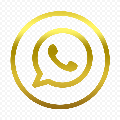 HD Golden Outline Whatsapp Wa Round Circle Logo Icon PNG
