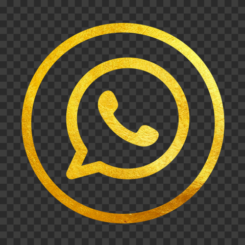 HD Gold Outline Whatsapp Watsup Round Circle Logo Icon PNG