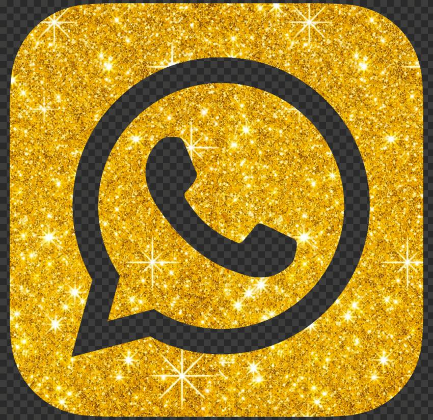 HD Luxury Gold Glitter Whatsapp Whats App Logo Icon PNG