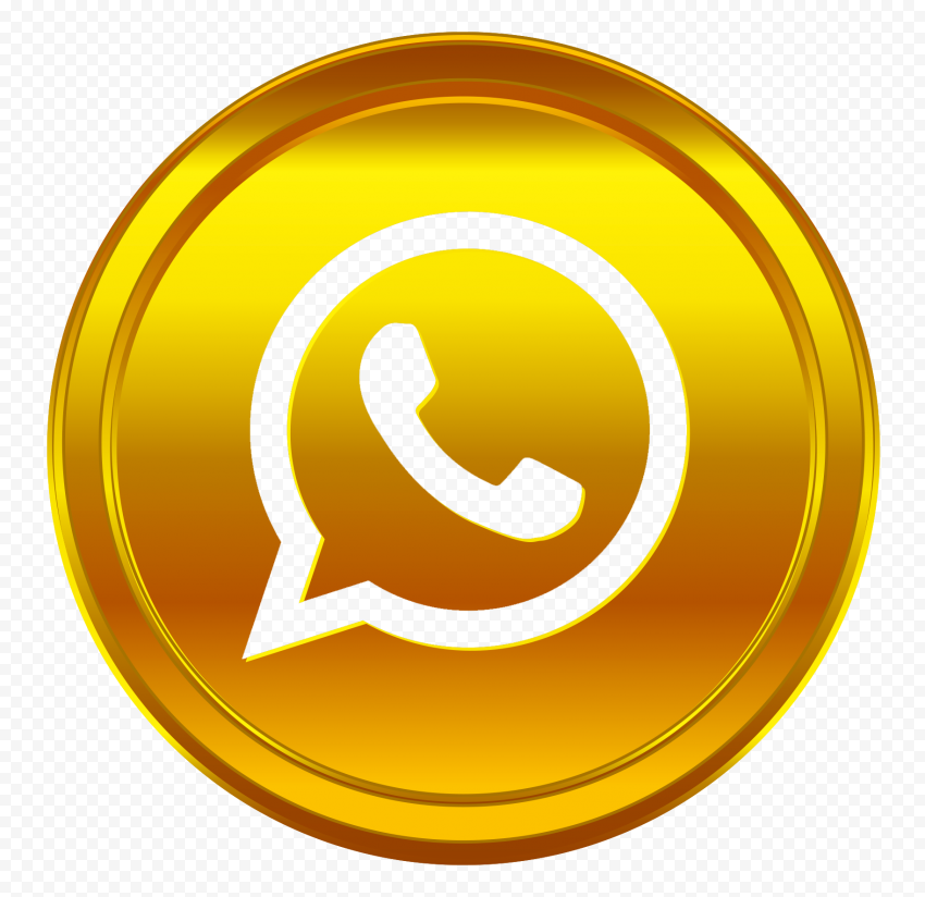 HD Golden Gold Whatsapp Wa Whats Outline Coin Style Icon PNG