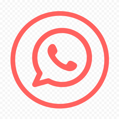 HD Flat Red Outline Whatsapp Wa Round Circle Logo Icon PNG