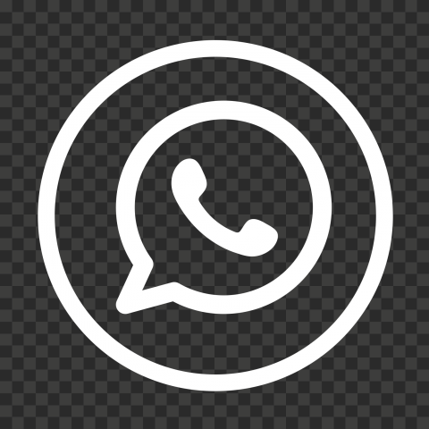 HD White Outline Whatsapp Wa Round Circle Logo Icon PNG