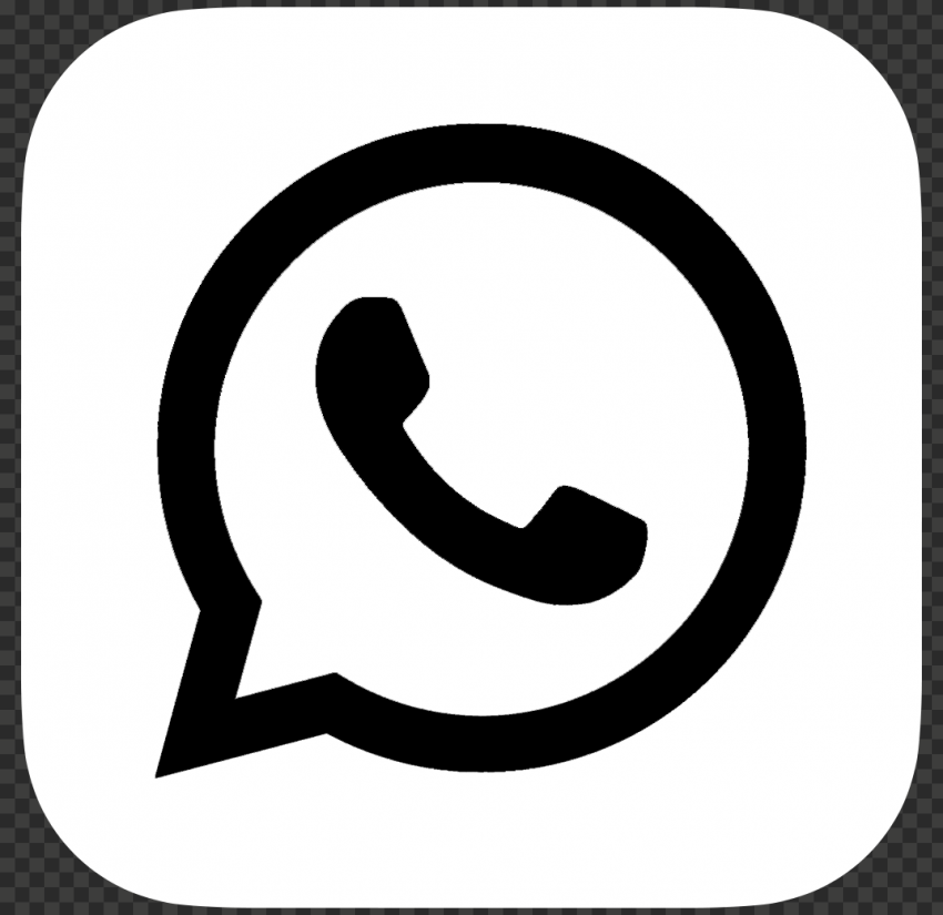 HD White & Black WhatsApp Wa Whats App Square Logo Icon PNG