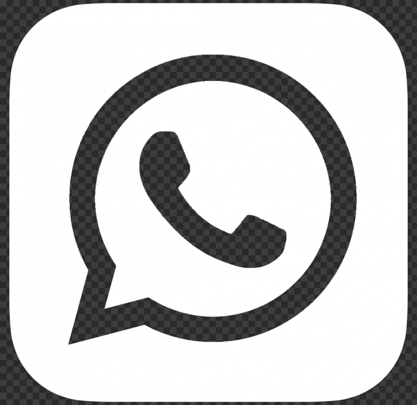HD White Outline WhatsApp Wa Whats App Square Logo Icon PNG