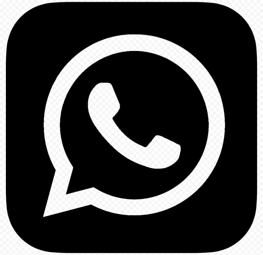 HD Black Outline WhatsApp Wa Whats App Square Logo Icon PNG