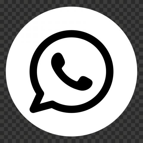 HD Round Black And White WhatsApp Wa Whats App Logo Icon PNG