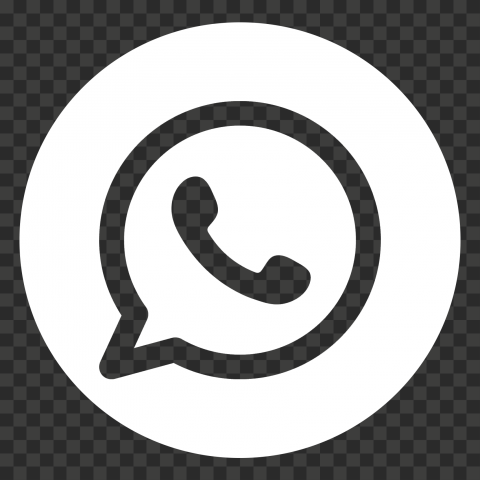HD Round White Outline WhatsApp Wa Whats App Logo Icon PNG