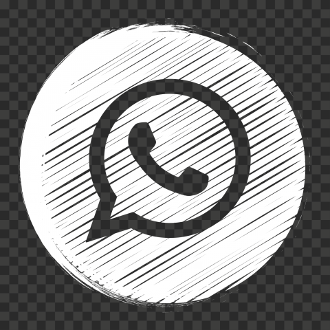 HD White Outline Whatsapp Wa Round Scribble Style Icon PNG