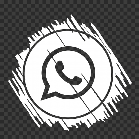 HD White Scribble Art Outline Whatsapp Wa Icon PNG