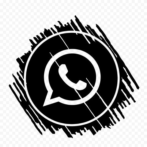 HD Black Scribble Art Outline Whatsapp Wa Icon PNG