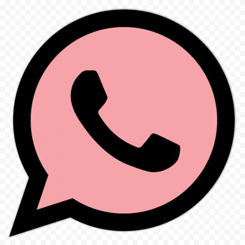 HD Pink & Black Wa Whatsapp App Logo Icon PNG