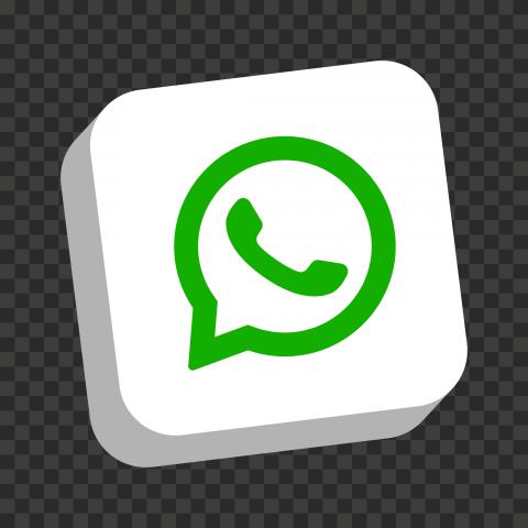 HD White 3D WhatsApp Wa Whats App Square Logo Icon PNG