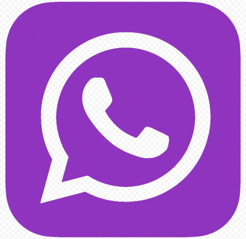 HD Purple Outline Whatsapp Wa Whats App Square Logo Icon PNG