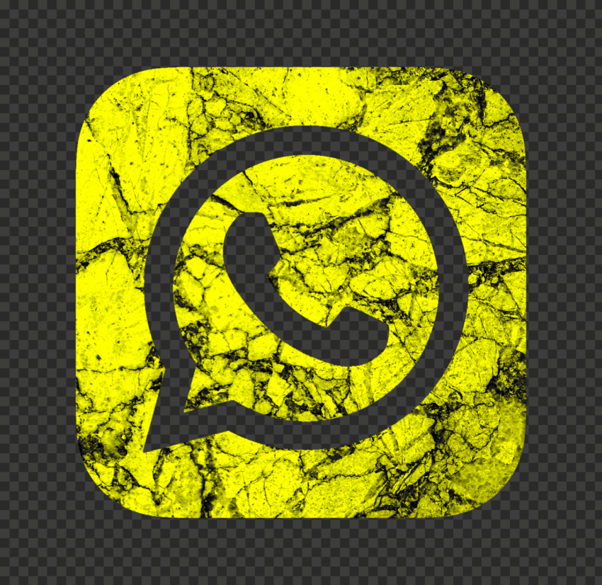 HD Yellow & Black Marble Aesthetic Whatsapp Logo Icon PNG