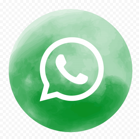 HD Round Circle Watercolor Style Green Whatsapp Icon PNG