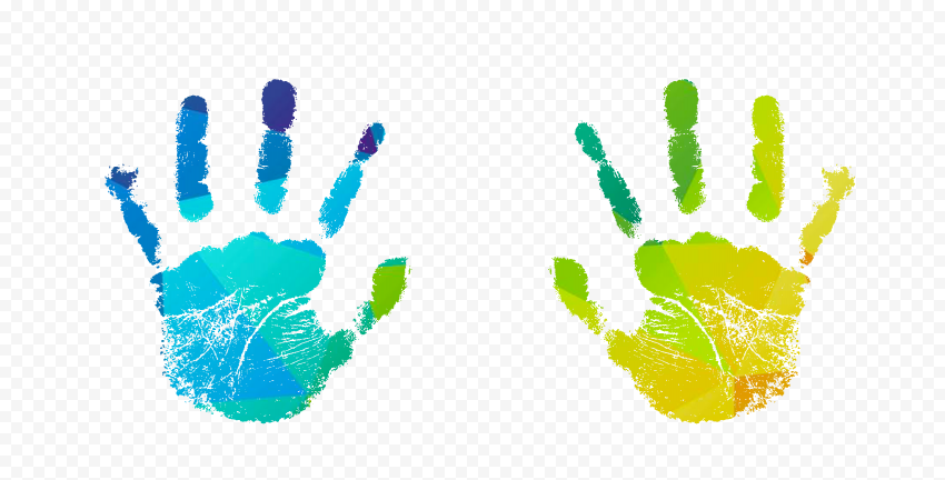 HD Colorful Two Realistic Hand Print PNG