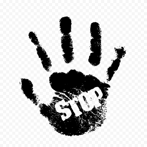 HD Black Hand Print With Stop Word PNG