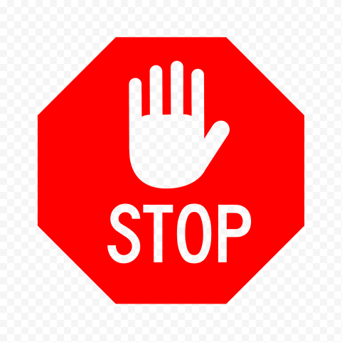 HD Outline Stop Word And Outline Hand On Red Stop Sign PNG