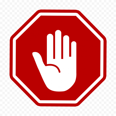 Vector White Hand Stop Silhouette On Red Stop Road Sign PNG