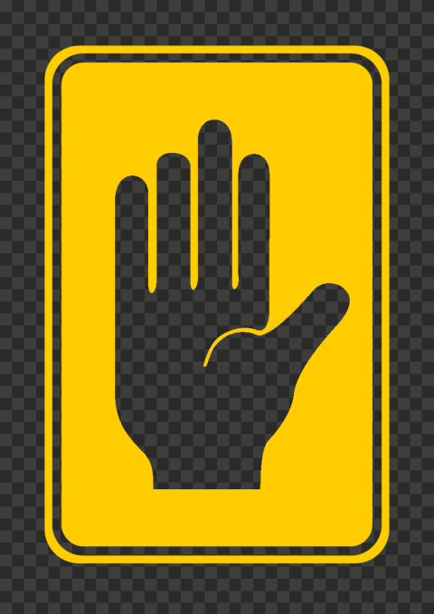 HD Outline Hand Stop Silhouette On Yellow Caution Road Sign PNG