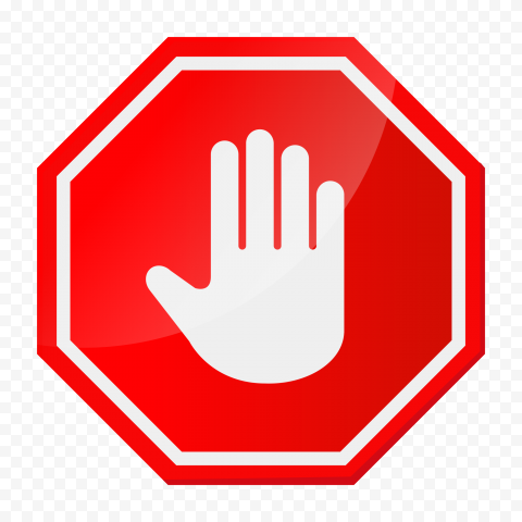 HD White Stop Hand Sign On Red Stop Highway Sign PNG
