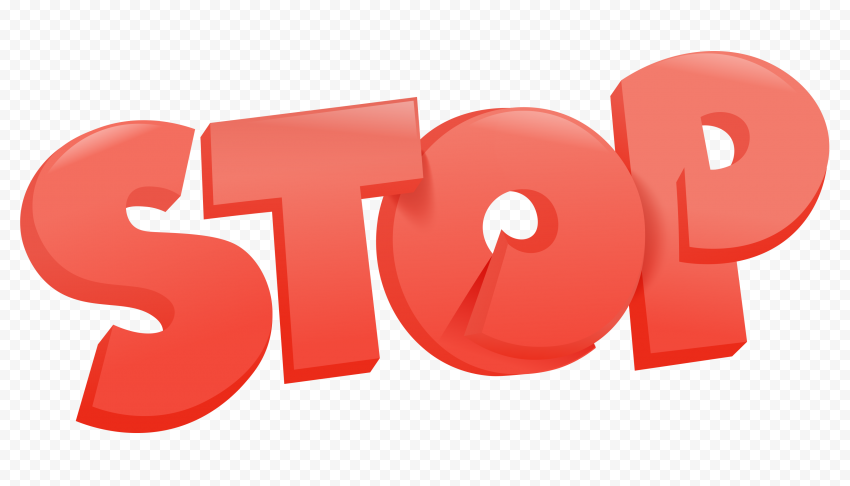 HD 3D Red Stop Word Text Illustration PNG