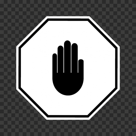 HD White And Black Stop Hand Sign Icon Symbol PNG