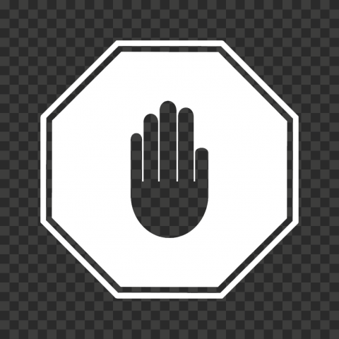HD White Stop Hand Sign Icon Symbol PNG
