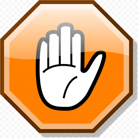 HD Stop Hand Symbol On Orange Road Sign Clipart PNG