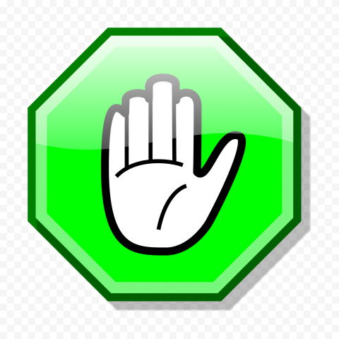 HD Stop Hand Symbol On Green Road Sign Clipart PNG