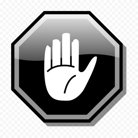 HD Stop Hand Symbol On Black Road Sign Clipart PNG