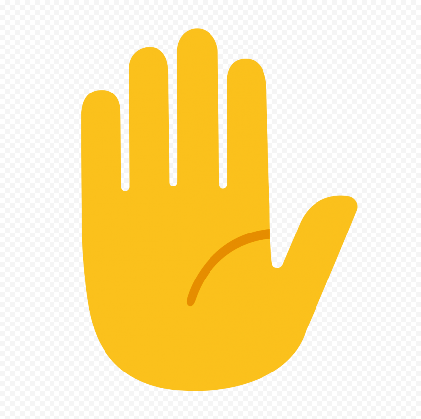 HD Stop Raised Hand Emoji Vector Clipart PNG
