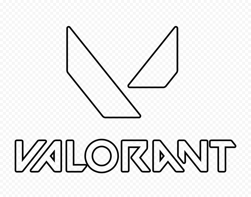 HD Valorant Black Outline Logo With Symbol PNG