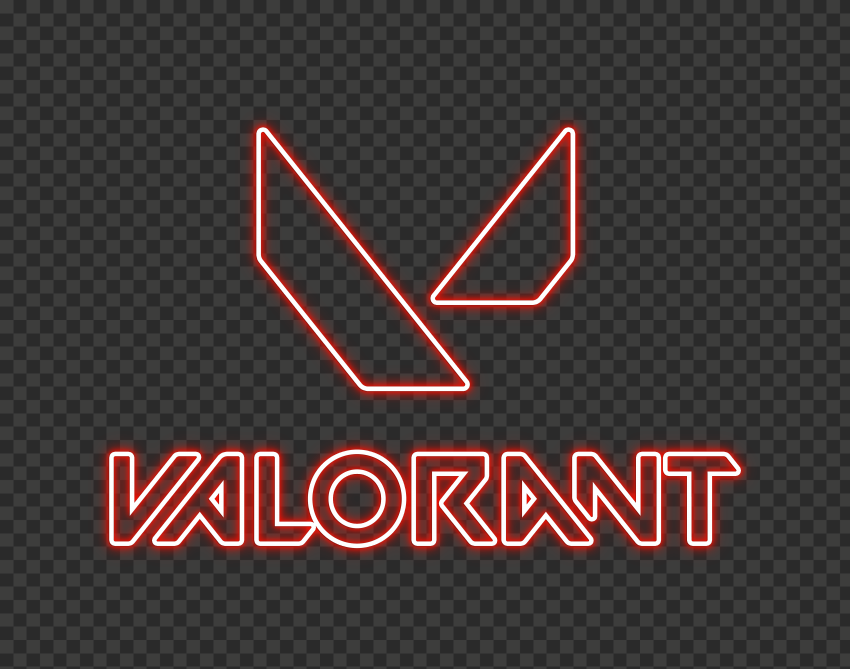 HD Valorant Light Red Neon Logo With Symbol PNG
