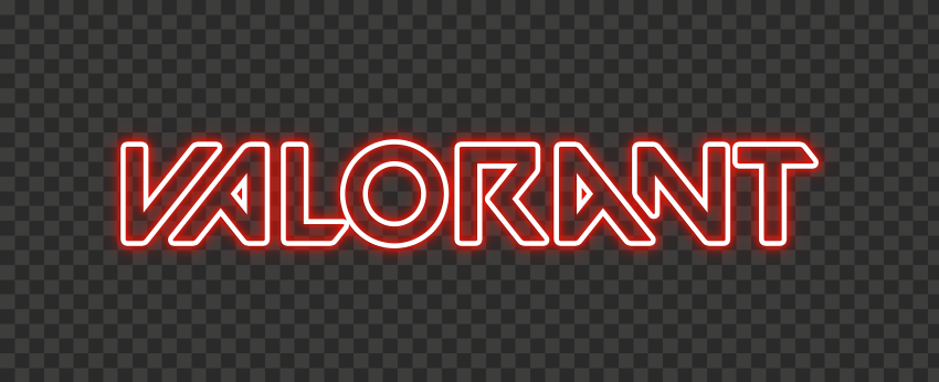 HD Valorant Light Red Neon Text Logo PNG