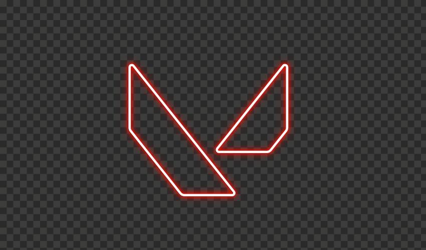 HD Valorant Light Red Neon Symbol Sign Logo PNG